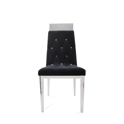 Letcher Upholstered Dining Chair (Set of 2) Upholstery Color: Black, Leg Color: Silver