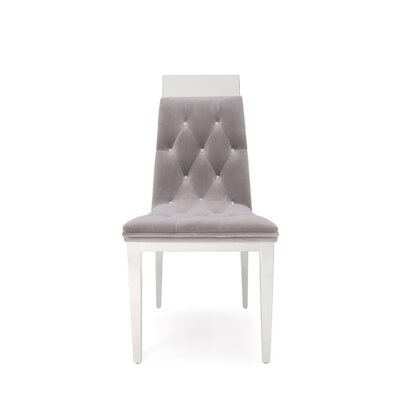 Letcher Upholstered Dining Chair (Set of 2) Upholstery Color: Gray, Leg Color: Silver