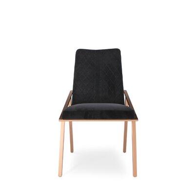 Frampton Upholstered Dining Chair (Set of 2) Upholstery Color: Black, Leg Color: Gold
