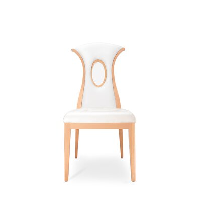 Frakes Upholstered Dining Chair (Set of 2) Color: Oyster/Gold