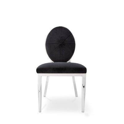 Fraise Upholstered Dining Chair (Set of 2) Upholstery Color: Black, Leg Color: Silver
