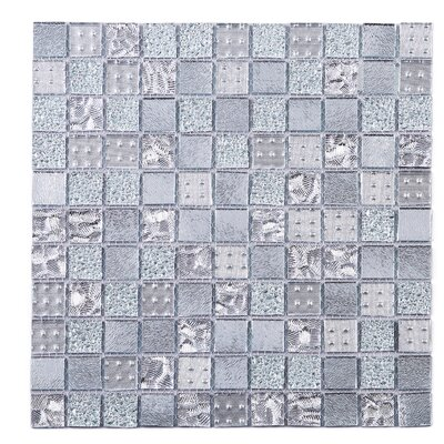 SAMPLE - Grid Glass Mosaic Tile in Gray