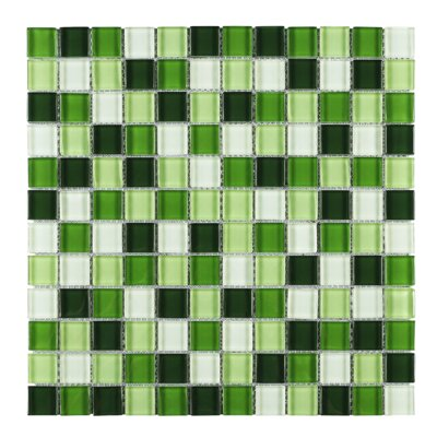 SAMPLE - Apple Mix Grid Glass Mosaic Tile in Green