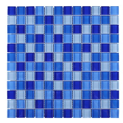 SAMPLE - Mix Grid Glass Mosaic Tile in Blue