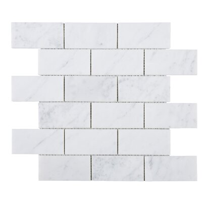 SAMPLE - Rectangle Marble Mosaic Tile in White