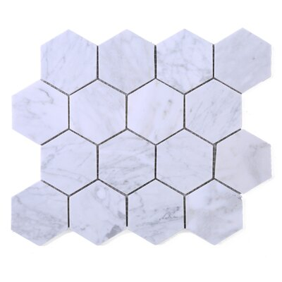 SAMPLE - Hexagon Marble Mosaic Tile in White