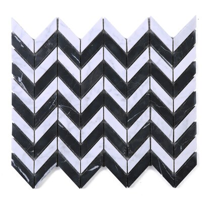 SAMPLE - Marquina Wave Marble Mosaic Tile in Black/White
