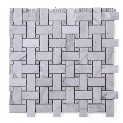 SAMPLE - Link Carrarra Marble Mosaic Tile in White