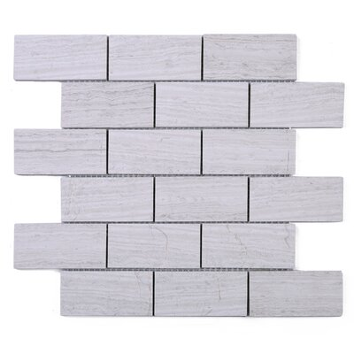 SAMPLE - Wooden Brick Marble Mosaic Tile in White