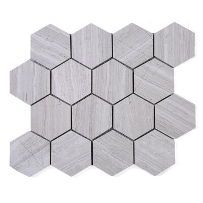 SAMPLE - Wooden Hexagon Marble Mosaic Tile in Beige