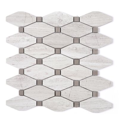 SAMPLE - Wooden Oversize Random Sized Marble Mosaic Tile in Beige