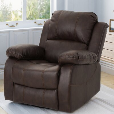 Eady Manual Glider Recliner Upholstery: Dark Brown