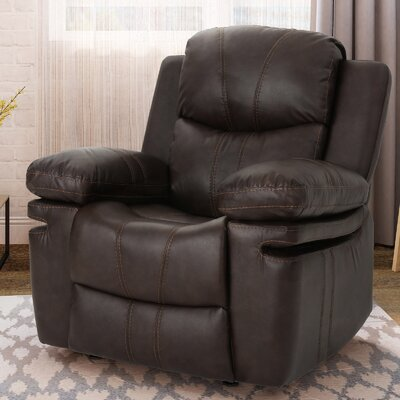 Eadie Manual Glider Recliner Upholstery: Dark Brown