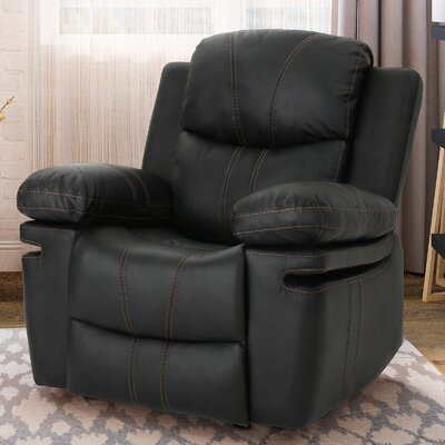 Eadie Manual Glider Recliner Upholstery: Black