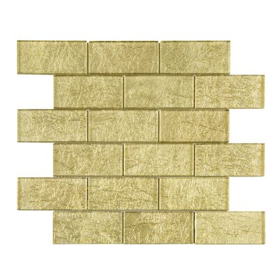 Galaxy 2 x 4 Glass Mosaic Tile in Gold