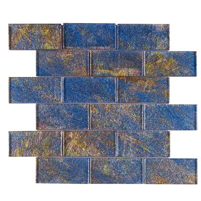 Galaxy 2 x 4 Glass Mosaic Tile in Blue/Gold