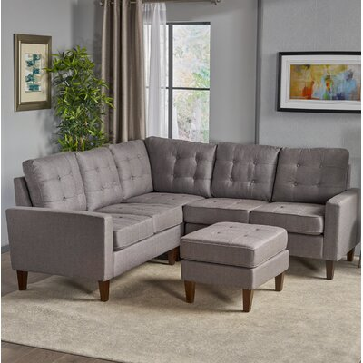 Vanhorn Modular Sectional with Ottoman Upholstery: Dark Gray