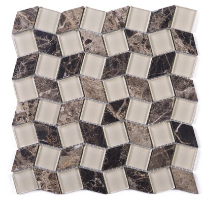 Geometry Diamond Emperador 1.3 x 1.3 Marble Mosaic Tile in Brown
