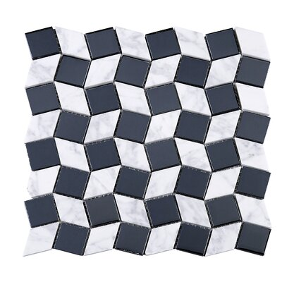 Geometry Diamond 1.3 x 1.3 Marble Mosaic Tile in Blue/White