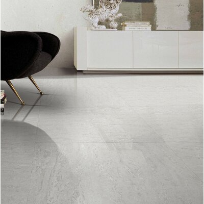 Navona Polished 24 x 24 Porcelain Field Tile in White