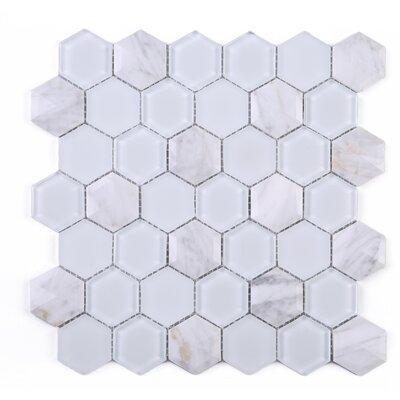 3D Hexagon 2 x 2 Marble Mosaic Tile in White