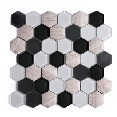 3D Hexagon 2 x 2 Marble Mosaic Tile in Black/Brown