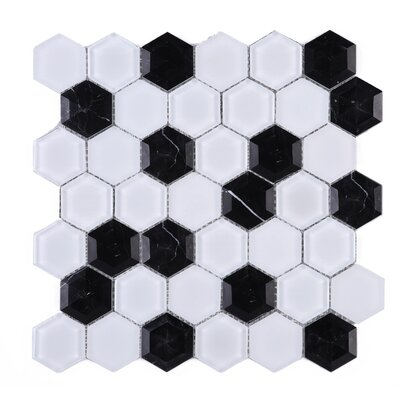 3D Hexagon 2 x 2 Marble Mosaic Tile in Black/White