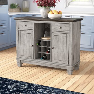 Nathalie Kitchen Island with Wood Top