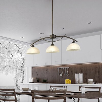 Verduzco Frosted Glass Shade 3-Lights Kitchen Island Pendant