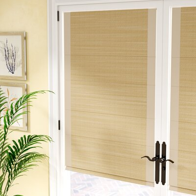 Woven Cane Paper Roman Shade Size: 32 W x 63 L, Color: Natural with Sand Border