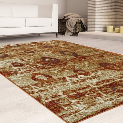 Mcginley Rust/Brown Area Rug Rug Size: Rectangle 5 x 8