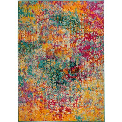 Casba Scatter Teal/Yellow Area Rug Rug Size: Rectangle 37 x 5