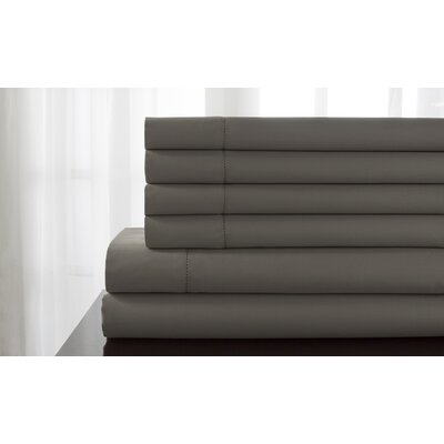Tamalenus Hemstitch Solid Bonus 600 Thread Count Percale Sheet Set Color: Titanium, Size: King