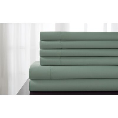 Tamalenus Hemstitch Solid Bonus 600 Thread Count Percale Sheet Set Color: Seaglass, Size: King
