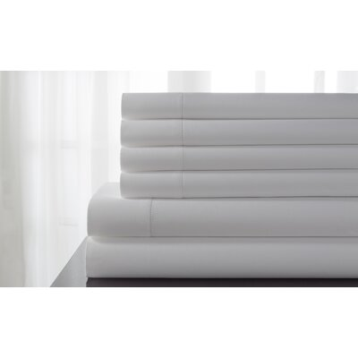Tamalenus Hemstitch Solid Bonus 600 Thread Count Percale Sheet Set Color: White, Size: King