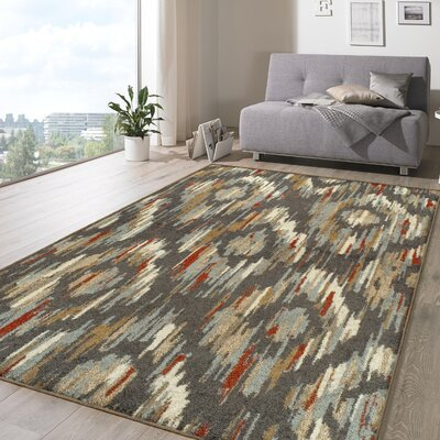 Michie Superior Gray/Red Area Rug Rug Size: Rectangle 5 x 8