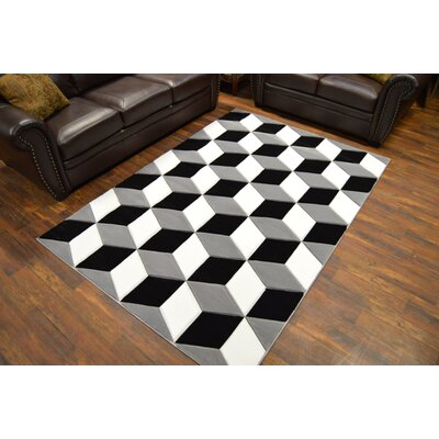 Mccampbell 3D Abstract Black/Gray Area Rug