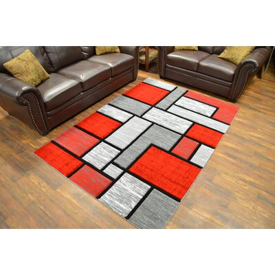 Mccampbell 3D Abstract Gray/Red Area Rug