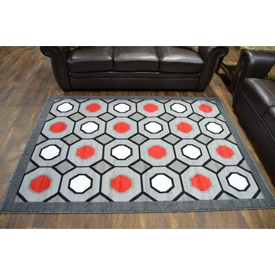Rima Abstract Gray/Red Area Rug