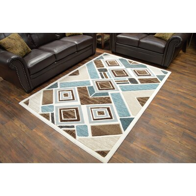 Mccampbell 3D Brown/Blue Area Rug