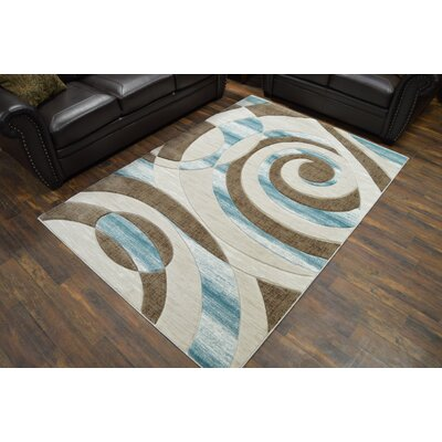 Mccampbell 3D Abstract Brown/Blue Area Rug