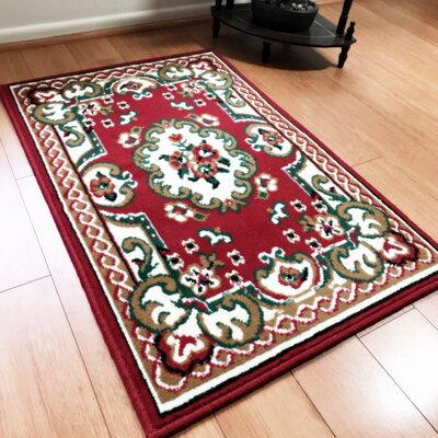 Edelina Traditional Red Area Rug Rug Size: Rectangle 8 x 10