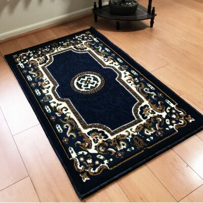 Edeline Traditional Navy Area Rug Rug Size: Rectangle 8 x 10