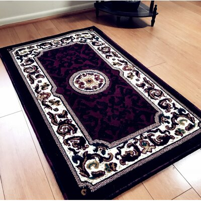 Edeline Traditional Burgundy Area Rug Rug Size: Rectangle 4 x 6