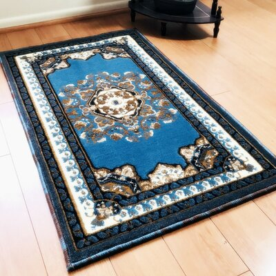 Edeline Traditional Light Blue Area Rug Rug Size: Rectangle 2 x 3