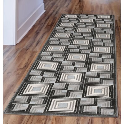 Lhasa Boxes Blue Area Rug Rug Size: Runner 111 W x  76 L