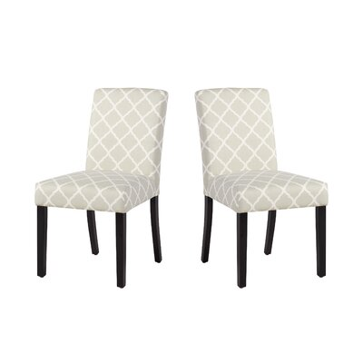 Marie-Anne Upholstered Dining Chair Upholstery: Gray Lattice