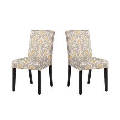 Marie-Anne Upholstered Dining Chair Upholstery: Gray/Green Paisley