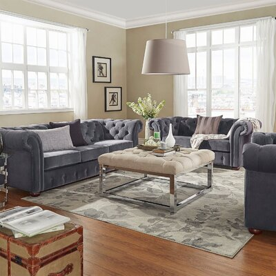 Bouffard 3 Piece Living Room Set Upholstery: Dark Gray