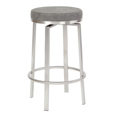 Oresman 26 Swivel Bar Stool Upholstery: Retro Gray Faux Leather